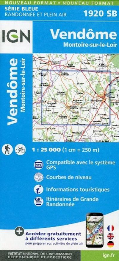 Vendome - Montoire sur le Loir 1 : 25 000 Carte Topographique Serie Bleue Itineraires de Randonnee
