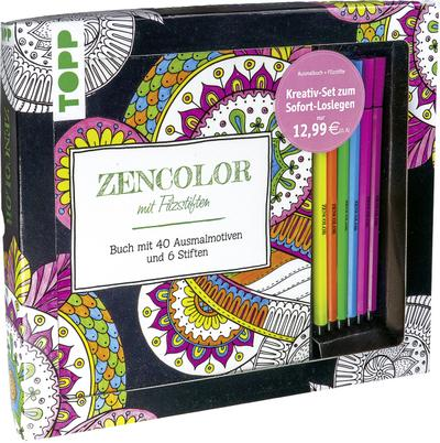 Kreativ-Set Zencolor mit Filzstiften: Buch mit 40 Ausmalmotiven und 6 Filzstiften (Buch plus Material)