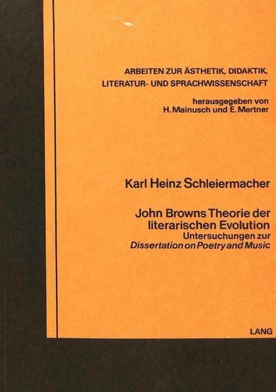 John Browns Theorie der literarischen Evolution