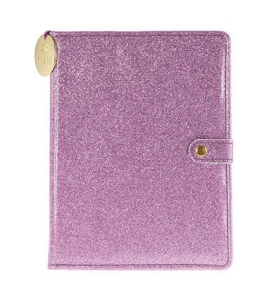 Snap Journal: Purple Glitter - Hardcover-Notizbuch/Tagebuch/Memo mit stabiler Ringbindung und Druckknopf