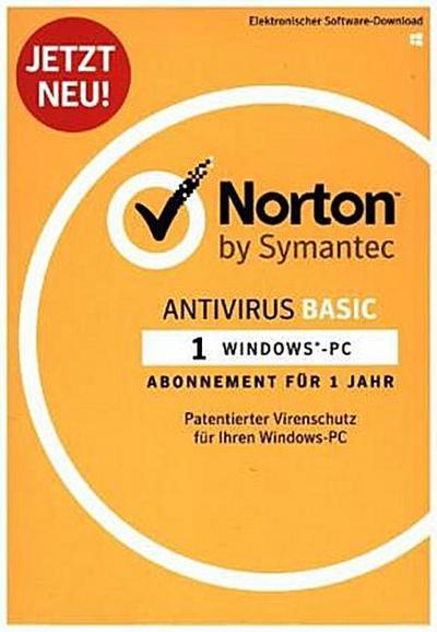 Norton Antivirus Basic 2018 | 1 Gerät | 1 Jahr | PC | Download - Symantec - Lizenz, Deutsch, , ,