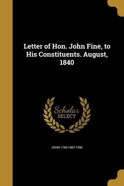 LETTER OF HON JOHN FINE TO HIS