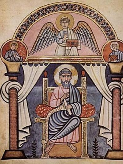 Meister der Schule von Canterbury - Codex Aureus von Canterbury, Szene: Hl. Matthäus - 200 Teile (Puzzle)
