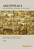 Aegyptiaca. Journal of the History of Reception of Ancient Egypt / Mnemohistory and Cultural Memory - Essays in Honour of Jan Assmann