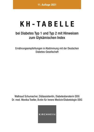 KH-Tabelle bei Diabetes Typ 1 und Typ 2 mit Hinweisen zum Glykämischen Index