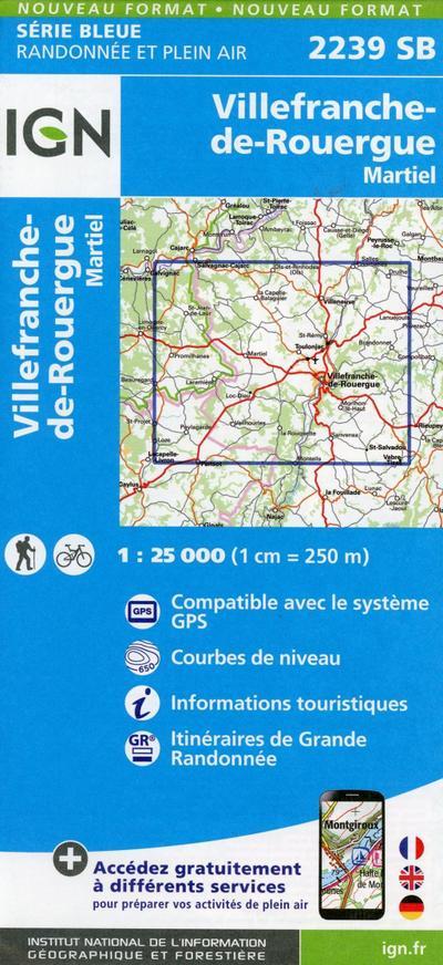 Villefranche-de-Rouergue. Martiel 1 : 25 000