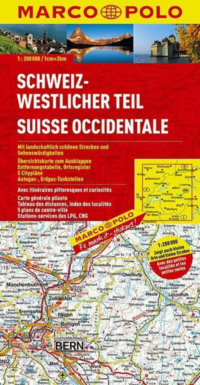MARCO POLO Karte Schweiz, Westlicher Teil 1:200.000 (MARCO POLO Karten 1:200.000)