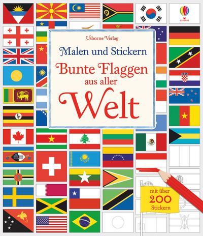 Malen und Stickern: Bunte Flaggen aus aller Welt