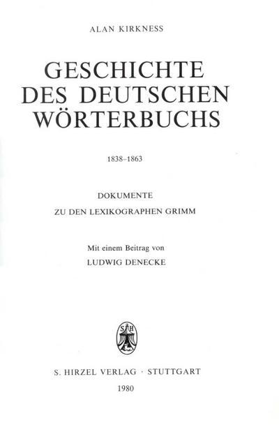 Geschichte des Deutschen Wörterbuchs 1838-1863