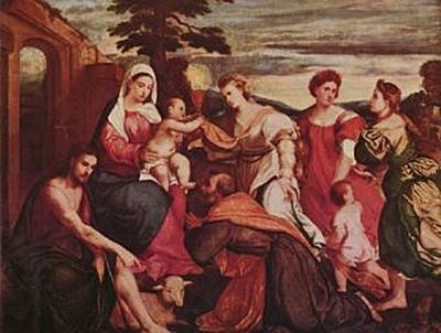 Bonifazio de' Pitati - Maria mit den drei theologischen Tugenden - 1.000 Teile (Puzzle)