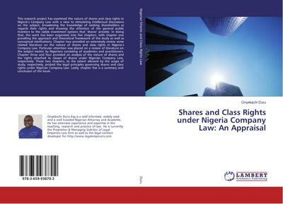 Shares and Class Rights under Nigeria Company Law: An Appraisal