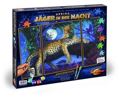 Schipper 609260607 - Malen nach Zahlen - Afrika Jäger in der Nacht (Triptychon), 50x80 cm