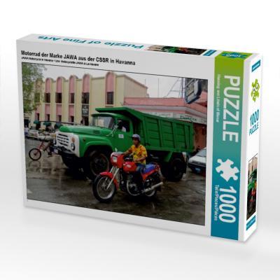 Motorrad der Marke JAWA aus der CSSR in Havanna (Puzzle)