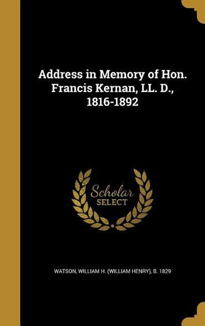 ADDRESS IN MEMORY OF HON FRANC