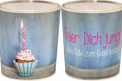 Windlicht 'Feier Dich jung! Alles gute zum Geburtstag!'