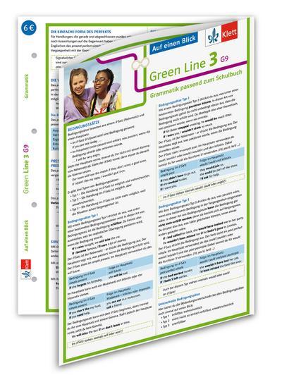 Green Line 3. Auf einen Blick. G9 Klasse 7. Grammatik passend zum Schulbuch - Klappkarte (6 Seiten)