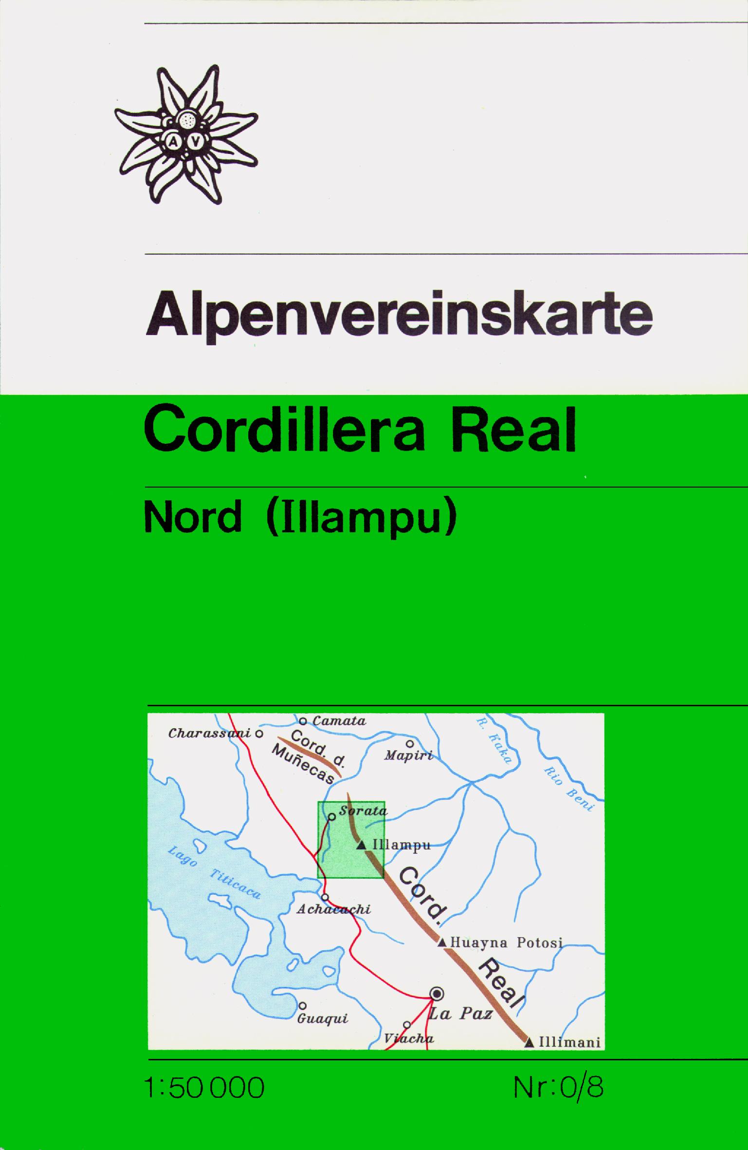 DAV Alpenvereinskarte 0/8 Cordillera Real Nord (Illampu - Bolivien) 1 : 50 000