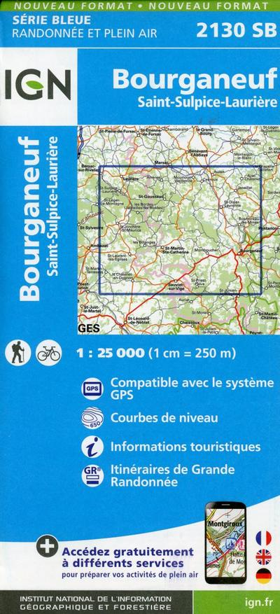 Bourganeuf. St-Sulpice-Laurière 1 : 25 000