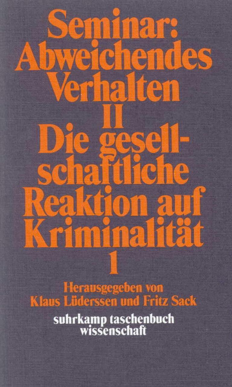 suhrkamp taschenbuch wissenschaft: Seminar: Abweichendes Verhalten II: Die  ...