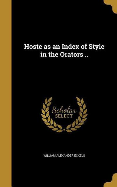HOSTE AS AN INDEX OF STYLE IN