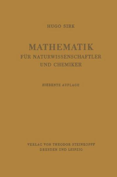 Mathematik für Naturwissenschaftler und Chemiker