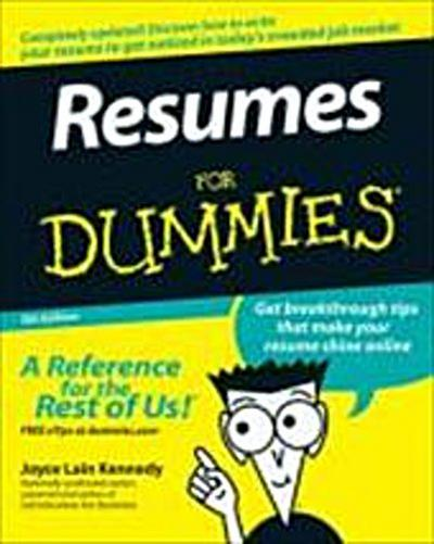 Resumes for Dummies (For Dummies (Lifestyles Paperback))