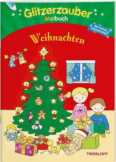Glitzerzaubermalbuch. Weihnachten; Mit vielen Glitzerseiten; Malbücher und -blöcke; Ill. v. Schmidt, Sandra; Deutsch; s/w illustriert, mit Glitzerlack