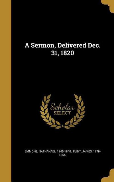 SERMON DELIVERED DEC 31 1820