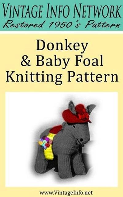 Donkey & Baby Foal Knitting Pattern - Stuffed Donkey Pattern