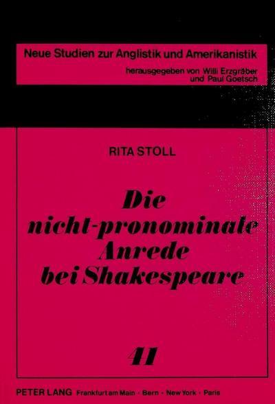 Die nicht-pronominale Anrede bei Shakespeare