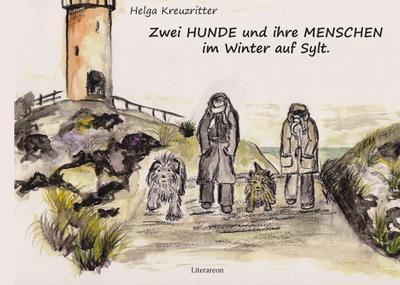 Zwei Hunde und ihre Menschen im Winter auf Sylt