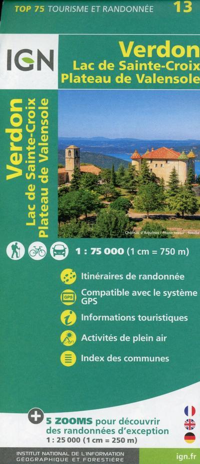 Verdon Lac de Sainte-Croix - Plateau de Valensole 1:75 000