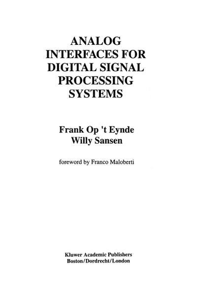 Analog Interfaces for Digital Signal Processing Systems