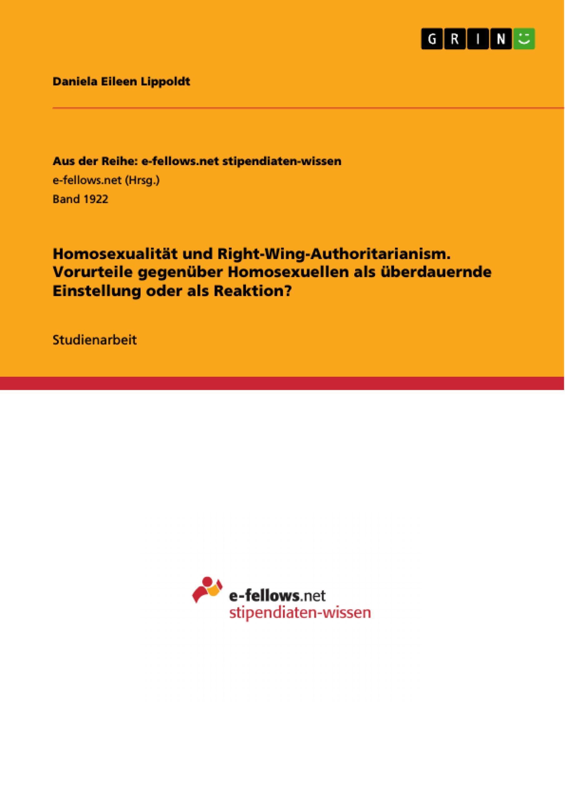 Homosexualität und Right-Wing-Authoritarianism. Vorurteile gegenüber Homose ...
