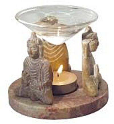 Aromalampe 3 Buddhas Speckstein 10 x 9 cm - Saraswati - , Deutsch, , ,