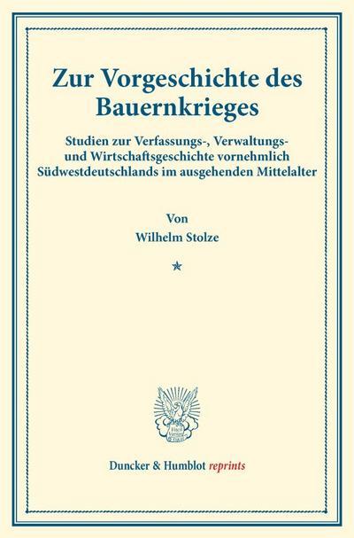Zur Vorgeschichte des Bauernkrieges.