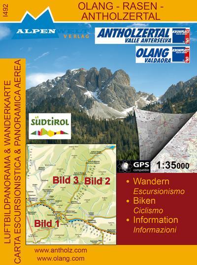 Luftbildpanorama & Wanderkarte - Olang - Rasen - Antholzertal - Alpenwelt Verlag - Landkarte, Deutsch| Italienisch, Alpenwelt Verlag, Wandern, Biken, Information. GPS compatible, Wandern, Biken, Information. GPS compatible