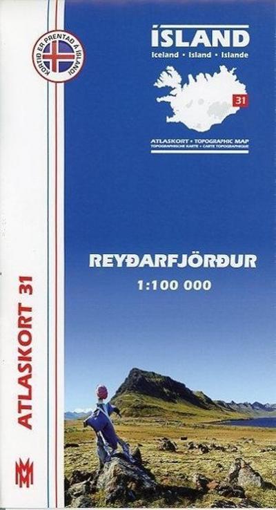 Island Atlaskort 31 Reydarfjördur 1:100.000