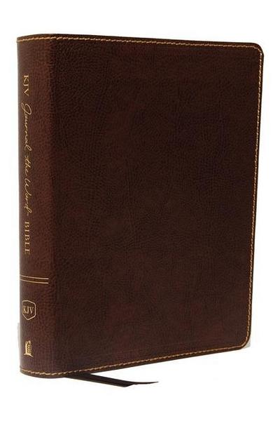 KJV, Journal the Word Bible, Bonded Leather, Brown, Red Letter Edition, Comfort Print: Reflect, Journal, or Create Art Next to Your Favorite Verses