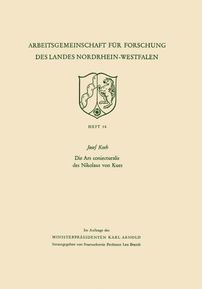 Die Ars coniecturalis des Nikolaus von Kues