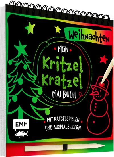 Mein Kritzel-Kratzel-Malbuch – Weihnachten; Mit Rätselspielen und Ausmalbildern; Deutsch