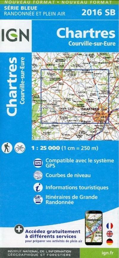 Chartes - Courville sur Eure 1 : 25 000 Carte Topographique Serie Bleue Itineraires de Randonnee