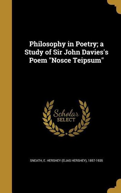 PHILOSOPHY IN POETRY A STUDY O