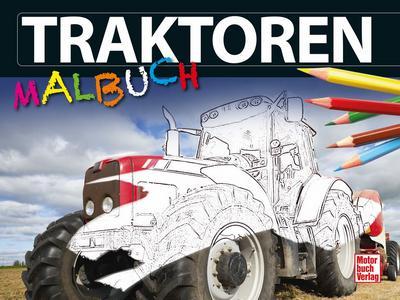 Traktoren-Malbuch; Deutsch; 30 Zeich., 30 farb. Fotos