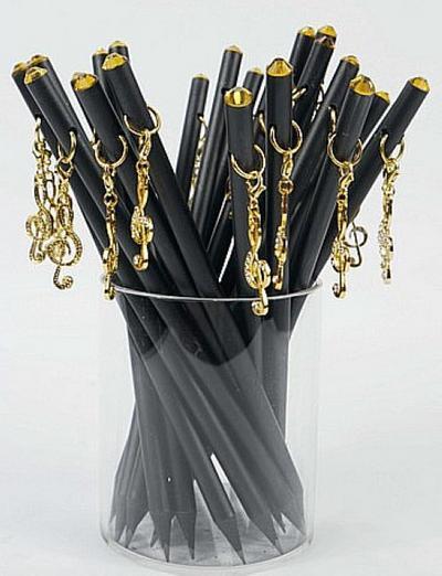 Bleistift mit Anhänger Violinschlüssel golden/Kristall