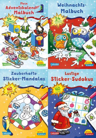 Weihnachtsspaß mit Adventskalender und Stickern 24. (4x1 Exemplar)