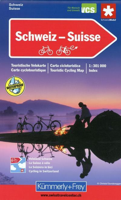 Schweiz 1 : 301 000. Touristische Velokarte. (Maßstab: 1:301.000): Touristische Velokarte (Kümmerly+Frey Velokarten)