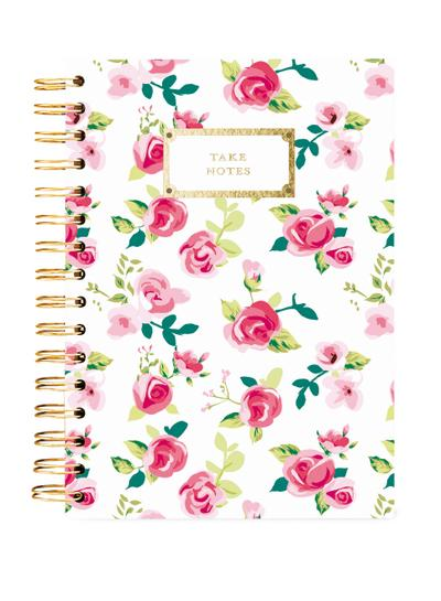 Hard Bound Journal: Pretty Floral Take Notes - Hardcover-Notizbuch mit stabiler Ringbindung: Schön geblümt