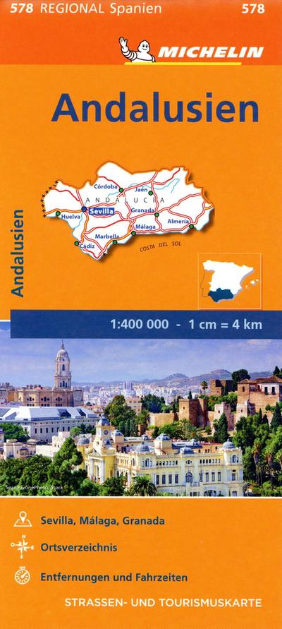 Michelin Andalusien. Straßen- und Tourismuskarte 1:400.000