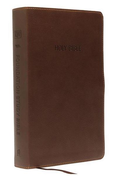 KJV, Foundation Study Bible, Imitation Leather, Brown, Indexed, Red Letter Edition